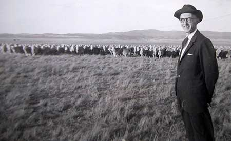Paul M. A. Linebarger and sheep in Australia